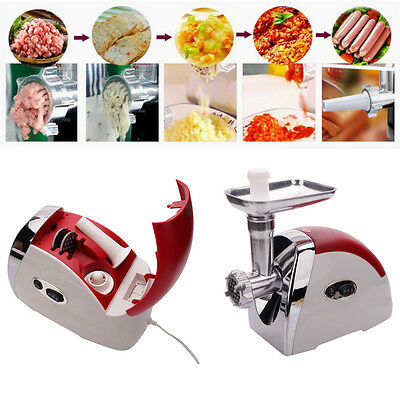 2000W Electric Sausage Stainless Steel Power Kitchen Meat Maker Grinder New Red
