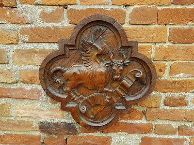 17th Century Flemish Antique Carved Oak Panel Depicting a Winged Ox