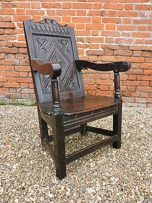 Early 17th Century English Antique Oak Wainscot Armchair Original Seat, C.1630