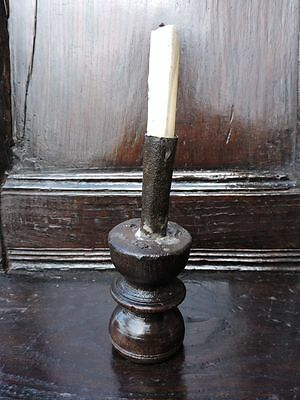 Primitive 18th Century English Antique Iron Candlestick Rushlight on Wood Base
