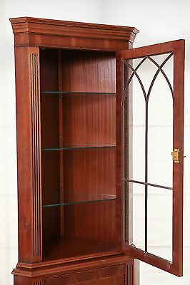 Reproduction Yew Wood Tall Display Cabinet