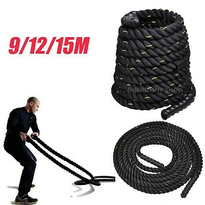 Pro Battle Power Rope 38/50mm Sport Bootcamp Gym Exercise Fitness Training Black