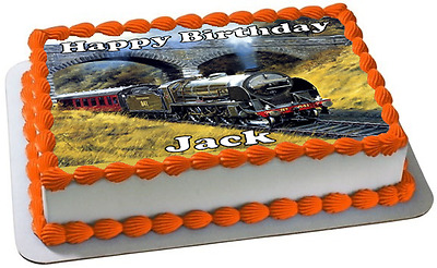 STEAM TRAIN A4 PREMIUM Edible ICING Cake Topper CAN BE PERSONALISED D1