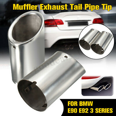 2X Black 3.5 Exhaust Muffler Tail pipes For 14-17 BMW F32 F33 F36 GC 435i N55