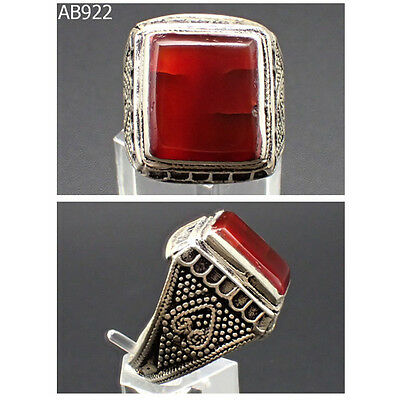 Antique Islamic Region Decorated Carnelian Silver Ring Mix #922
