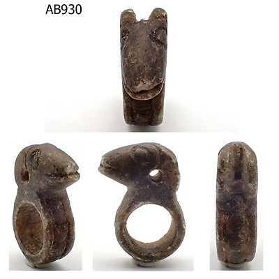 Very Old bactrian Near Eastern Stone Carved Ring With Ram Head #930