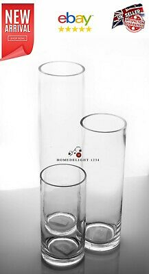 3 CYLINDER VASES  WEDDING AND HOME DECOR WITH 10cm DIAMETER AND 5mm THICK GLASS