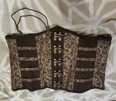 "BNWOT steel boned underbust corset 38"" brown & gold steampunk LARP"