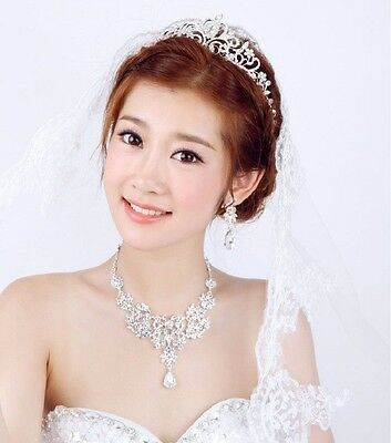 Popular Bridal Princess Austrian Crystal Tiara Wedding Crown Veil Hair Ac Silver