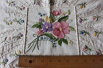 Vintage American Cotton Hand Embroidered Floral Unused Centerpiece/PillowFront