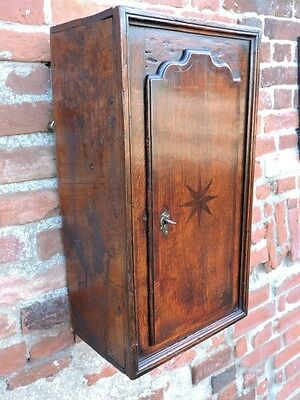 Late 18th Century English Antique Oak & Elm Wall Cupboard