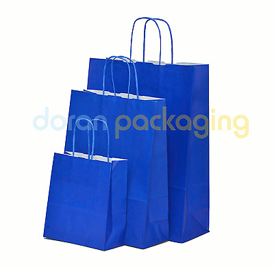 Blue Twist Handle Paper Party and Gift Carrier Bag / Bags With Twisted Handles
