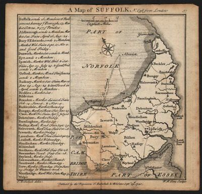 Antique county map of Suffolk by Badeslade & Toms 1742 old chart