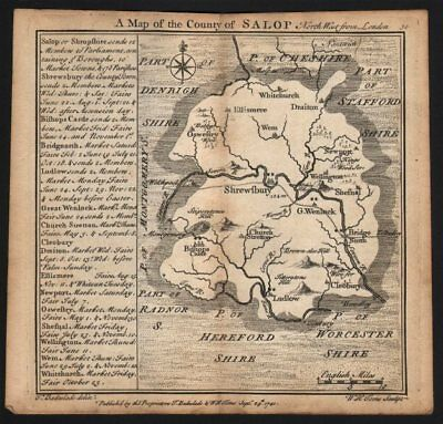 Antique county map of the county of Salop by Badeslade & Toms. Shropshire 1742