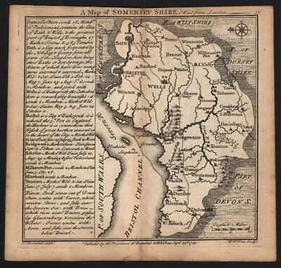 Antique county map of Somersetshire by Badeslade & Toms. East orientation 1742