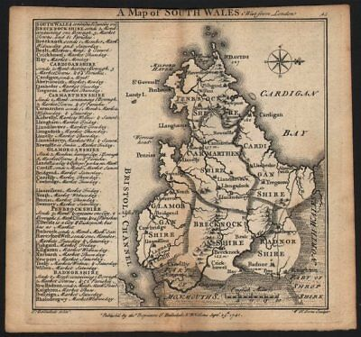 Antique county map of South Wales by Badeslade & Toms. West orientation 1742