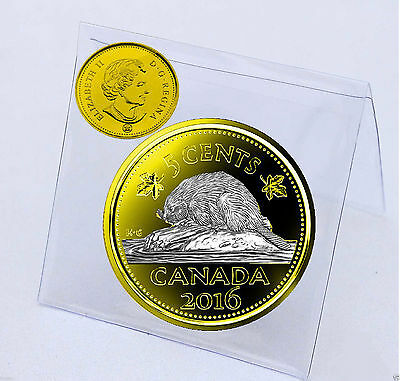 2016 Canadian 5 Cents Plated Gold 24k and Gild with Selective Rhodium