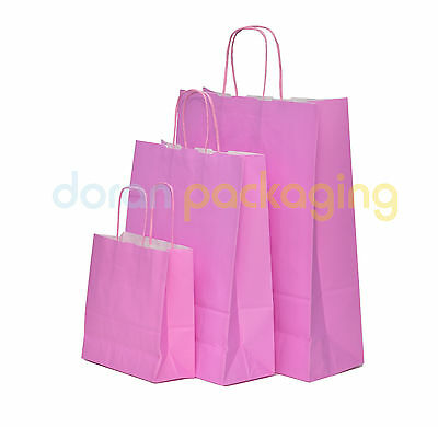 Pastel Pink Twist Handle Paper Party and Gift Carrier Bag / With Twisted Handles