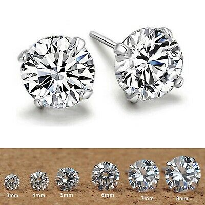 925 Sterling Silver Plated Cubic Zirconia Round Studs Earrings Gift CZ Gift Cute