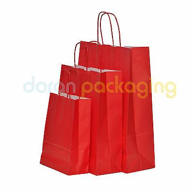 Red Twist Handle Paper Party and Gift Carrier Bag / Bags With Twisted Handles
