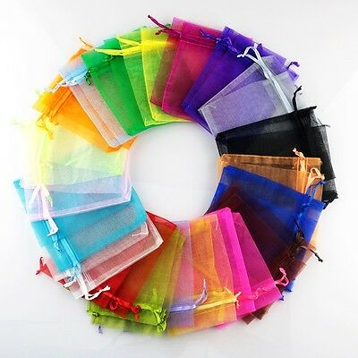 100PCS MIXED ORGANZA Wedding Favour XMAS GIFT BAGS Jewellery Candy Pouches