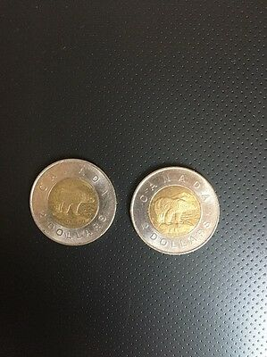 2003 and 2005 Canadian Two Dollar Coins Toonie Circulated