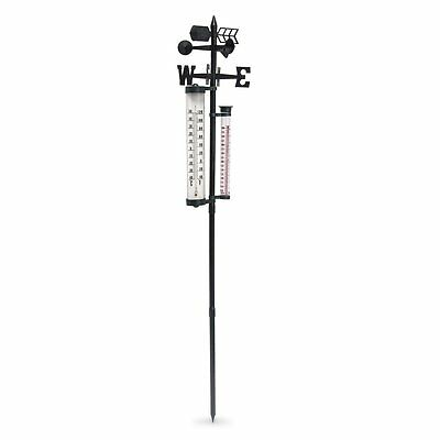Relaxdays Garden Weather Station With Rain Gauge Wind Direction Indicator Wind