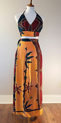 Vintage BOHO Women's Multi-Color 2 piece Halter and Skirt - Size Medium