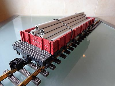 VINTAGE LGB 4061 D&RGW flatcar with chained metal tubes G scale