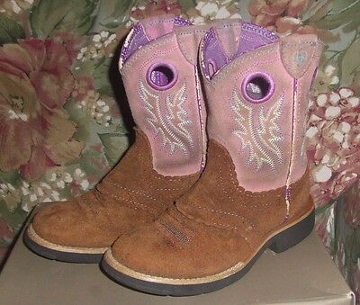 Girls Youth Pink & Brown Ariat Boots Size 12