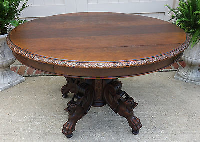 Antique French Carved Oak Round Dining Kitchen Table Griffin Hunt Renaissance