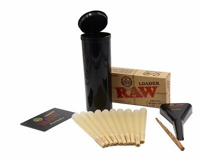 Raw King Size Cones 10 count With Raw Cone Loader and Stash Container