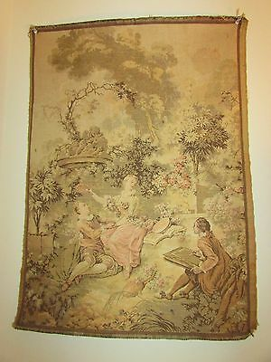 """FRAGONARD TAPESTRY CIRCA 1900 MADE IN FRANCE 21x28"""" THE LOVER CROWNED EXCELLENT"""