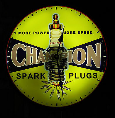 """Champion Spark Plugs Vintage Advertising NEW Wall Clock 14"""" Light Sign"""