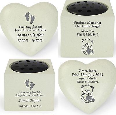 Personalised In Loving Memory Baby Childs Grave Memorial Ornaments Stones Babies