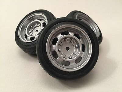 Old Skool Silver Rc Wheels 3mm Offset 1/10th Car Road Rubber Tyres Truck Beetle