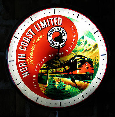 """Northern Pacific Railroad RR Vintage Advertising NEW Wall Clock 14"""" Light Sign"""