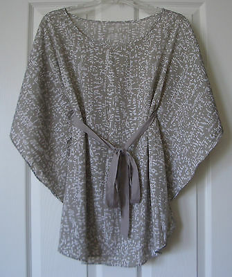Maternity Sz Small Taupe / Beige & White Batwing Tunic Top w/ Sash Belt