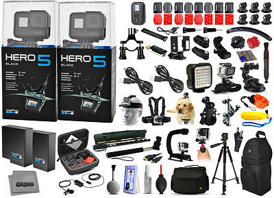2X GoPro HERO5 Hero 5's HD Black Edition Action Camera + Mega Accessories Bundle