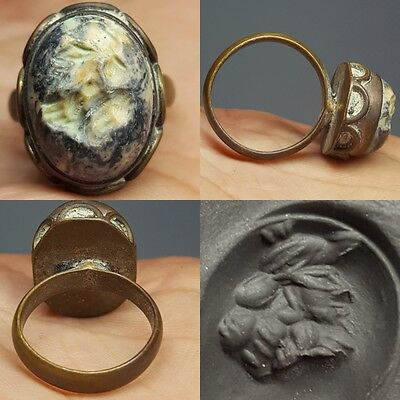 Medieval face intaglio Old Lovely stone Ring # E