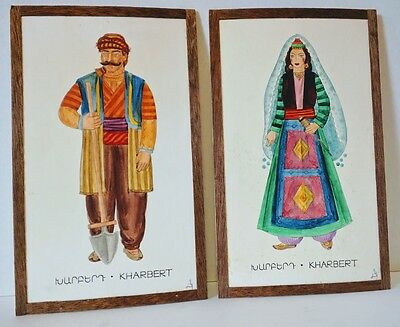 Pair Vintage Hand-Painted Armenians Traditional Costume of Kharbert w/Wood Frame