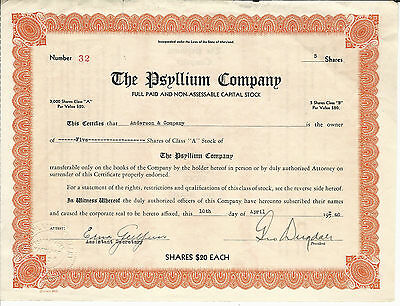 1940 MARYLAND The Psyllium Company Stock Certificate #32