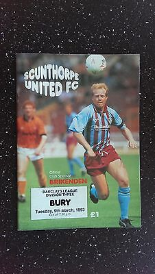 Scunthorpe United V Bury 1992-93
