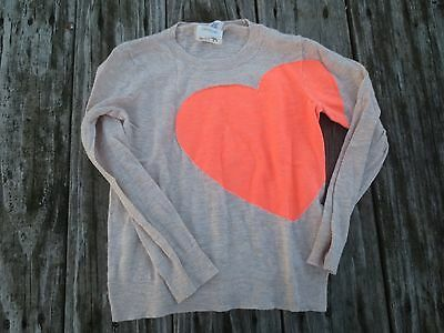 Crewcuts ~ Girls Tan Orange Heart Sweater ~ Size 6-7
