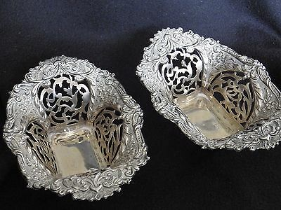 Antique Pierced,  Silver, Bon Bon Dishes Birmingham 1905 Good Condition.