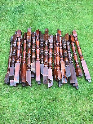 Antique Mahogany Spindles. Heavy Solid Hardwood. 19th Century