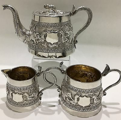 SUPERB ANTIQUE REPOUSSE PERSIAN ISLAMIC INDIAN SILVER TEA SET hunting scene