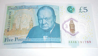 AA46 Bank Of England £5 Five Pound Note - New issue Plastic/Polymer