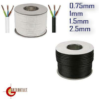 3 4 Core Round White or Black Flex cable 0.75 1 1.5 2.5mm Flexible Ext Wiring