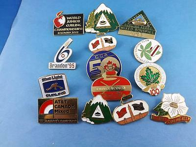 Large Lot Curling Club Bonspiel Pin Back Curler Championship Collector Button